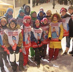 Участники флешмоба #noRussianoGames в Норвегии