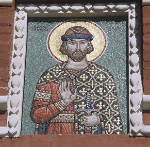 Князь Александр Невский. Мозаика на стене Воскресенских ворот.