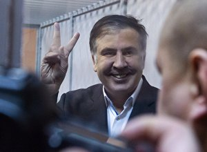 Экс-президент Грузии, бывший губернатор Одесской области Михаил Саакашвили во время судебного процесса
