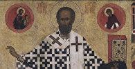 Фрагмент иконы Святитель Николай Чудотворец Зарайский с житием