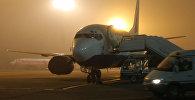 Самолет на стоянке в аэропорту Домодедово во время плохой погоды