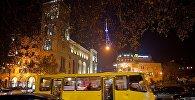 Ночной вид на проспект Руставели в Тбилиси