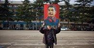 Акция сталинистов в городе Гори