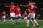 Игроки Манчестер Юнайтед Поль Погба, Ромелу Лукаку и Маркус Рашфорд (слева направо)