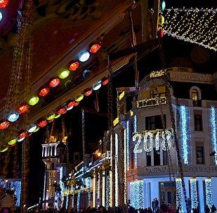 Новогоднее освещение на одной из улиц Батуми