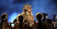Beyonce выступает на 59-й церемонии вручения ежегодной премии Grammy в Лос-Анджелесе