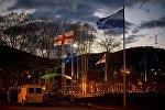 Флаги ЕС и Грузии на площади Европы в грузинской столице