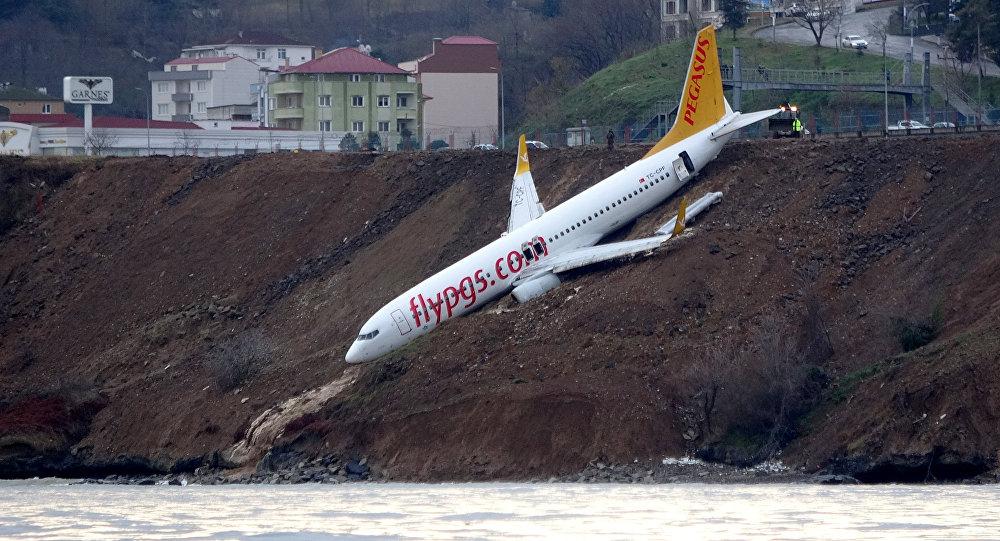 Самолет Pegasus Airlines, который выкатился за взлетную полосу и съехал с обрыва в Турции