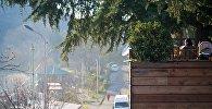 Зимний пейзаж за городом - одно из кафе под открытым небом