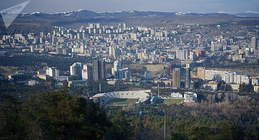 Вид на город Тбилиси зимой