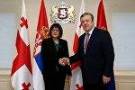 Глава Национальной ассамблеи Сербии Майя Гойкович и премьер-министр Грузии Георгий Квирикашвили