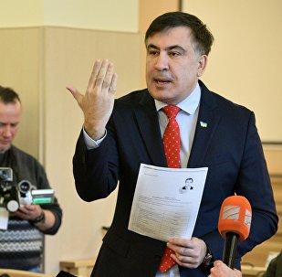 Экс-президент Грузии, бывший губернатор Одесской области Михаила Саакашвили на заседании Верховного суда Украины