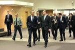 Глава МИД Грузии Михаил Джанелидзе и Генсек НАТО Йенс Столтенберг на переговорах