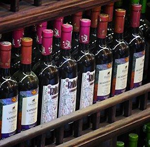 ქართული ღვინო ერთ-ერთ ტურისტულ მაღაზიაში