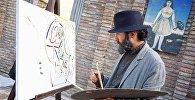 Артист, изображающий художника Пиросмани, на проспекте Агмашенебели