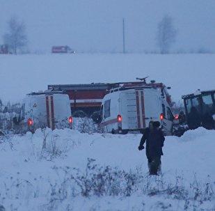 Представители чрезвычайных служб на месте крушения самолета Ан-148 в Подмосковье