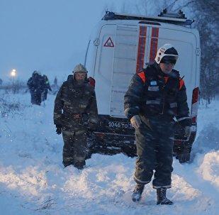 Представители чрезвычайных служб работают на месте крушения самолета Ан-148 в Подмосковье