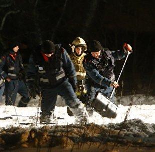 Представители чрезвычайных служб ищут тела погибших на месте крушения самолета Ан-148 в Подмосковье