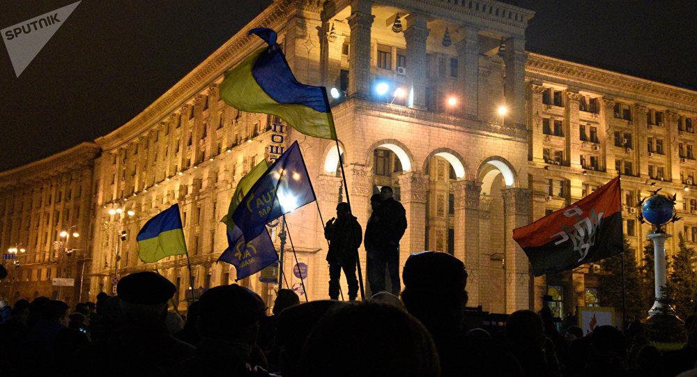 Годовщина событий на Майдане в Киеве