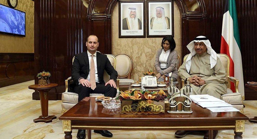მიხეილ ჯანელიძე და ქუვეითის პრემიერ-მინისტრი შეიხ ჯაბერ ალ მუბარაქ ალ ჰამედ ალ საბაჰი