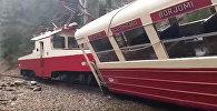 ბორჯომი-ბაკურიანის მატარებლის ავარია: კადრები შემთხვევის ადგილიდან