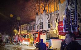 Крупный пожар на проспекте Агмашенебели - видео с места ЧП
