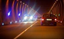 Машины едут по Рикотскому тоннелю