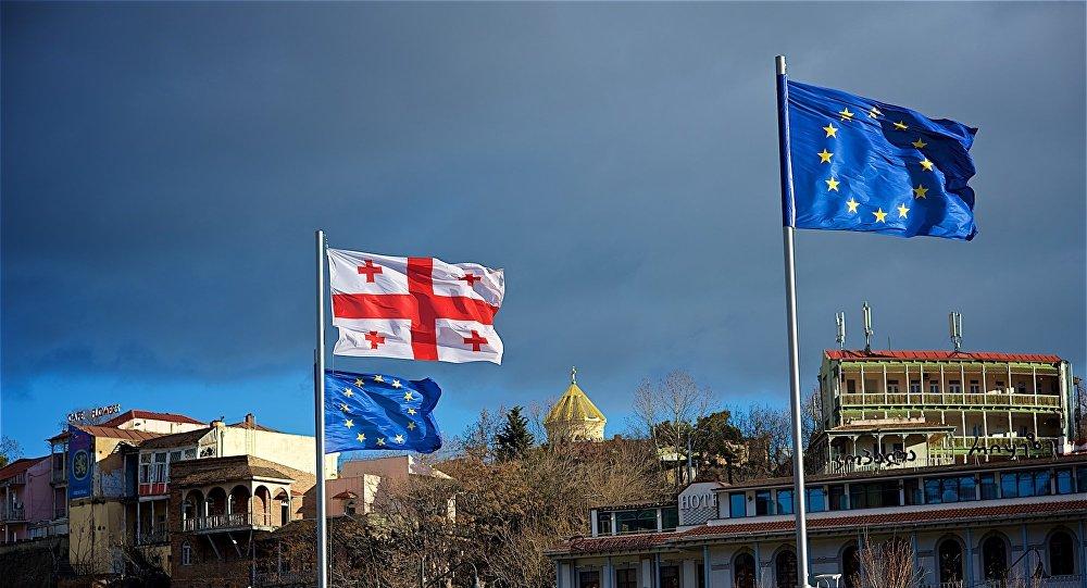 ევროკავშირის და საქართველოს დროშები
