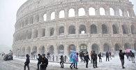 На Рим обрушился снегопад
