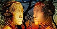 ქალისა და მამაკაცის სილუეტები ხეების ფონზე