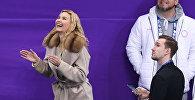 Российский тренер Этери Тутберидзе во время выступления фигуристок в короткой программе женского одиночного катания на соревнованиях по фигурному катанию на XXIII зимних Олимпийских играх
