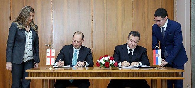 Главы МИД Грузии и Сербии Михаил Джанелидзе и Ивица Дачич подписали соглашение о безвизе