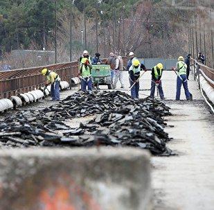 Ремонтные работы на пешеходном мосту в Тбилиси
