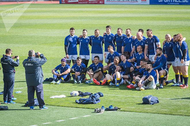 Тренировка перед матчем сборных Грузии и Румынии по регби