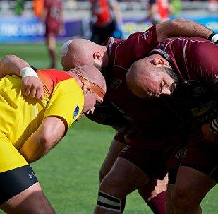 Матч между сборными Грузии и Румынии по регби в финале КЕН