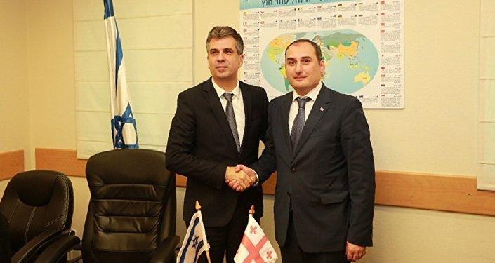 Министры экономики Израиля и Грузии Эли Коэн и Дмитрий Кумсишвили