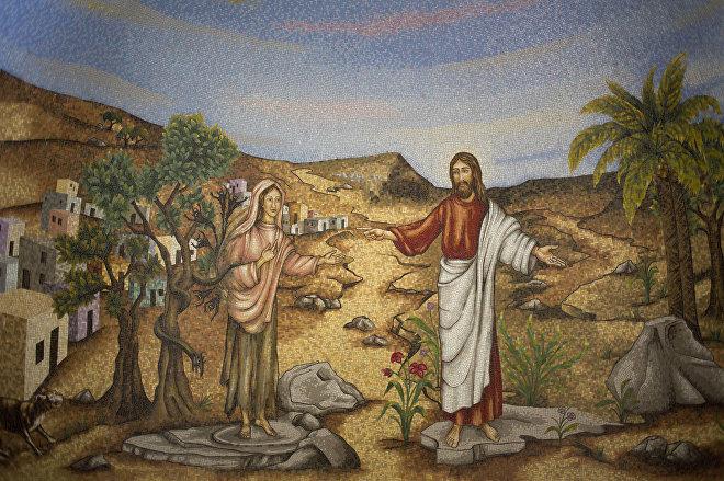 Мозаика с изображением Марии Магдалины и Иисуса Христа в центре Магдалы.