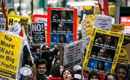 საპროტესტო აქცია აშშ-ში სირიის დაბომბვის წინააღმდეგ